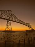 Sunset, Astoria Megler Bridge, Astoria Bridge, Steel Girder Continuous Truss Bridge, Astoria, Oregon