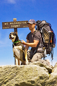 Hiker and Dog on Mt. Washington Summit, Appalachian Trail, New Hampshire