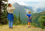 Father and Son on Hurricane Ridge Viewing Olympic Mountains, Olympic National Park, Washington