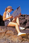 Girl Reading Map, Craters of the Moon National Monument and Preserve, Idaho