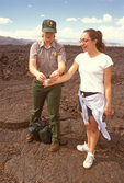 Ranger and Girl on Lava Field, Craters of the Moon National Monument and Preserve, Idaho