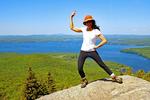 Woman Posing on Mount Major Summit, Lake Winnipesaukee, Belknap Mountains, Alton, New Hampshire