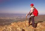 Hiker on Hawksbill Mountain Summit, Appalachian Trail, Blue Ridge Mountains, Shenandoah National Park, Virginia
