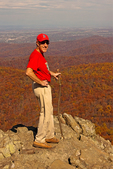 Hiker at Summit, Humpback Rocks, Blue Ridge Parkway, Blue Ridge Mountains, Appalachian Mountains, Virginia