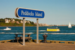 Sign and Boats, Peddocks Island, Boston Harbor Islands National Recreation Area, Massachusetts