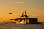 USS Wasp LHD-1, amphibious assault ship, Airplane Landing at Logan Airport, Boston Harbor, Massachusetts
