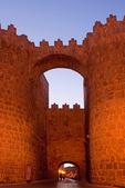 Puerta del Alcazar at Night, Gate of Alcazar at Night, Romanesque Style Medieval City Walls at Night, Walls of Avila, Spain