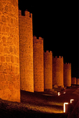 Romanesque Style Medieval City Walls at Night, Walls of Avila, Spain