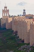Bell Tower and Churches, Romanesque Style Medieval City Walls, View from the Four Posts, Avila, Spain