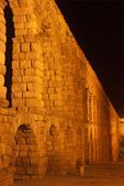 Roman Aqueduct of Segovia at Night, Segovia, Spain