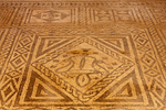 Roman Floor Mosaic in Casa Basilica, Garden of the Roman Theatre of Mérida, Teatro Romano, Extremadura, Merida, Spain