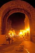 People Walking through Arch of Trajan at Night, Trajan's Arch, Arco de Trajano, Extremadura, Merida, Spain