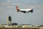 British Airways Airplane Flying over Boston Skyline, Boston, Massachusetts