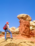 Hiker and Hoodoo, Cohab Canyon, Capitol Reef National Park, Utah