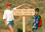 Kids at Trail Sign, Arches National Park, Colorado Plateau, Moab, Utah
