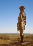 General Warren on Little Round Top Overlooking Civil War Battlefield, Gettysburg National Military Park, Gettysburg, Pennsylvania