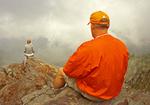 Hiker on Charlies Bunion, Appalachian Trail, Great Smoky Mountains National Park, Tennessee, North Carolina