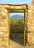 Levy Store Door Ruins and Ajo Mountains, Victoria Mine Ruins, Organ Pipe Cactus National Monument, Sonoran Desert, Arizona