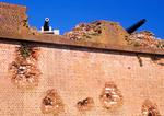 Cannon and Damaged Wall, Fort Pulaski National Monument, Cockspur Island, Tybee Island, Savannah, Georgia