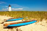 Kayaks on Beach, Edgartown Harbor Light, Martha's Vineyard, Edgartown, Massachusetts
