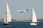 Plane Landing at Logan Airport, Boston Harbor, Massachusetts