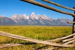 Wooden Fence Framing the Teton Mountain Range, Grand Teton National Park, Wyoming