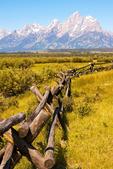 Wooden Fence and the Teton Mountain Range, Grand Teton National Park, Wyoming
