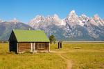 Cabin and Outhouse, Mormon Row Historic District, Antelope Flats, Teton Mountain Range, Jackson Hole, Grand Teton National Park, Wyoming