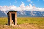 Outhouse, Mormon Row Historic District, Antelope Flats, Teton Mountain Range, Jackson Hole, Grand Teton National Park, Wyoming