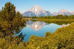 Mt. Moran Reflected in the Snake River at Oxbow Bend, Teton Mountain Range, Jackson Hole, Grand Teton National Park, Wyoming