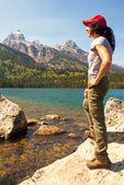 Hiker at Taggart Lake, Grand Teton National Park, Wyoming