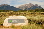 Entrance Sign and Teton Range, Laurance S. Rockefeller Preserve, Grand Teton National Park, Wyoming