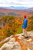 Hiker on Boulder Loop Trail, Kancamagus Highway, White Mountains, New Hampshire