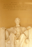Abraham Lincoln Statue in Lincoln Memorial, Washington, D.C.
