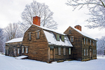 Ephraim and Elizabeth Hartwell Tavern in Winter, 18th Century Colonial Architecture, Minuteman National Historical Park, Lincoln, Concord, Massachusetts