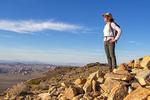 Hiker on Ryan Mountain Summit, Joshua Tree National Park, Twentynine Palms, California