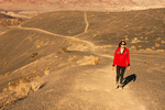 Hiker on Volcanic Lava Field, Ubehebe Crater, Death Valley National Park, California