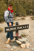 Hiker and Trailhead Sign, Wildrose Peak Trail, Panamint Mountain Range, Death Valley National Park, California