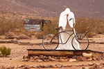 Ghost Rider and Bicycle Sculpture, Goldwell Open Air Museum, Charles Albert Szukalski sculptor, Rhyolite Ghost Town, Nevada