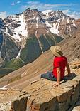 Hiker at Sentinel Pass viewing Paradise Valley, Canadian Rockies, Banff National Park, Alberta, Canada