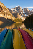 Moraine Lake and Canoes, Canadian Rockies, Banff National Park, Alberta, Canada