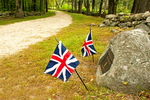 Battle Road and New England Stone Wall, British Flags, Minuteman National Historical Park, Lexington Concord, Massachusetts