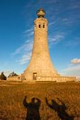 Hiker Shadows and Mt. Greylock Veterans War Memorial Tower, Appalachian Trail, Mount Greylock State Reservation, Berkshires, Massachusetts