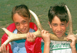 Kids with Elk Antlers, Rocky Mountain National Park, Colorado