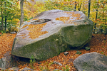 Boise Rock Glacial Erratic in Autumn, Franconia Notch State Park, White Mountains, New Hampshire