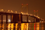 Throgs Neck Bridge at Night, Metal Suspension Bridge, East River and Long Island Sound, Bronx and Queens, New York City, New York