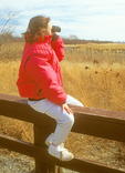 Young Girl Birdwatching, Jamaica Bay Wildlife Refuge, Gateway National Recreation Area, Queens, New York