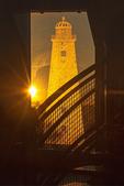Setting Sun on Glass Etching of Original Fire Island Light, Fresnel Prism Building, 19th Century Lighthouse, Fire Island National Seashore, Long Island, New York