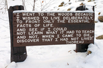 Thoreau Quotation Sign, Henry David Thoreau House Site in Winter, Walden Pond, Concord, Massachusetts