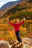 Hiker on North Sugarloaf, Crawford Notch State Park, White Mountains, New Hampshire